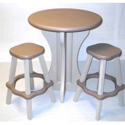 3 Pc Outdoor Pub Set in Taupe and White Plastic