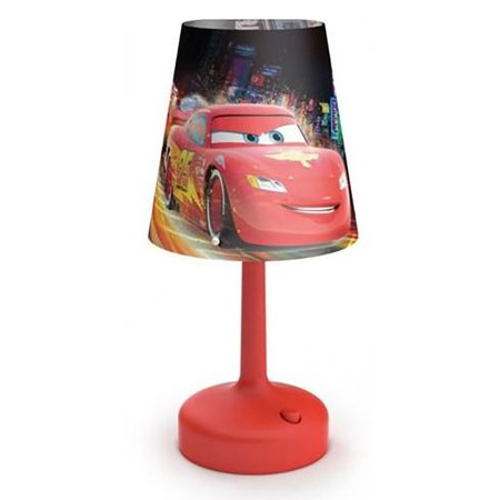 Philips Disney Cars Indoor Portable 10 Inch Kids Table Lamp with Shade, Red ()