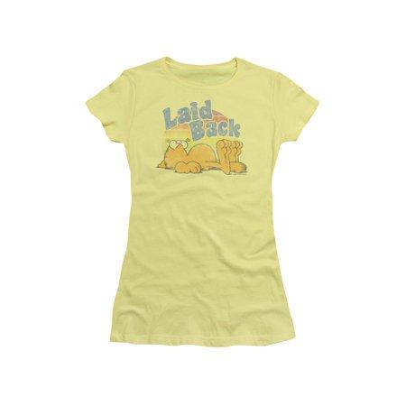 Garfield Comic Strip Cartoon Laid Back Summer Juniors Sheer T-Shirt Tee](Halloween Garfield Strip)