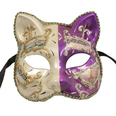FANCY CAT FACE MASK - Painted Party Masks - MASQUERADE - Red And White Halloween Faces