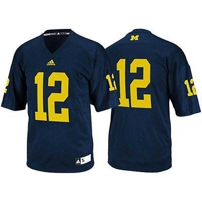super popular 3ab06 79ae5 Michigan Wolverines #12 NCAA Adidas Youth Navy Premier Football Jersey