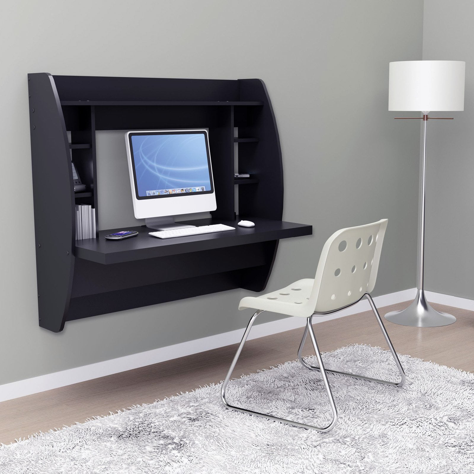Prepac Tall Wall Mounted Floating Desk with Storage, Multiple Colors -  Walmart.com