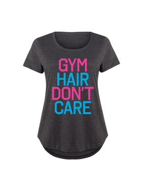 Gym Hair Don't Care  - Ladies Plus Size Scoop Neck Tee
