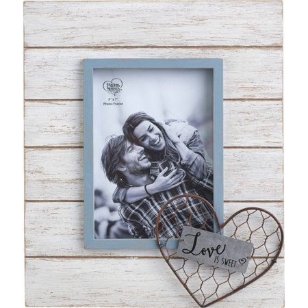 Precious Moments Farmhouse Decor Love Is Sweet Wood/Metal/Glass 5 x 7 Photo Frame 189914