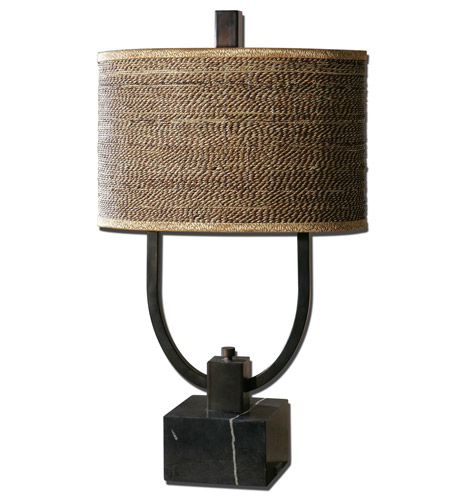 Table Lamps 2 Light With Rustic Bronze Finish Marble Metal Cane Material 30  Inch 120 Watts