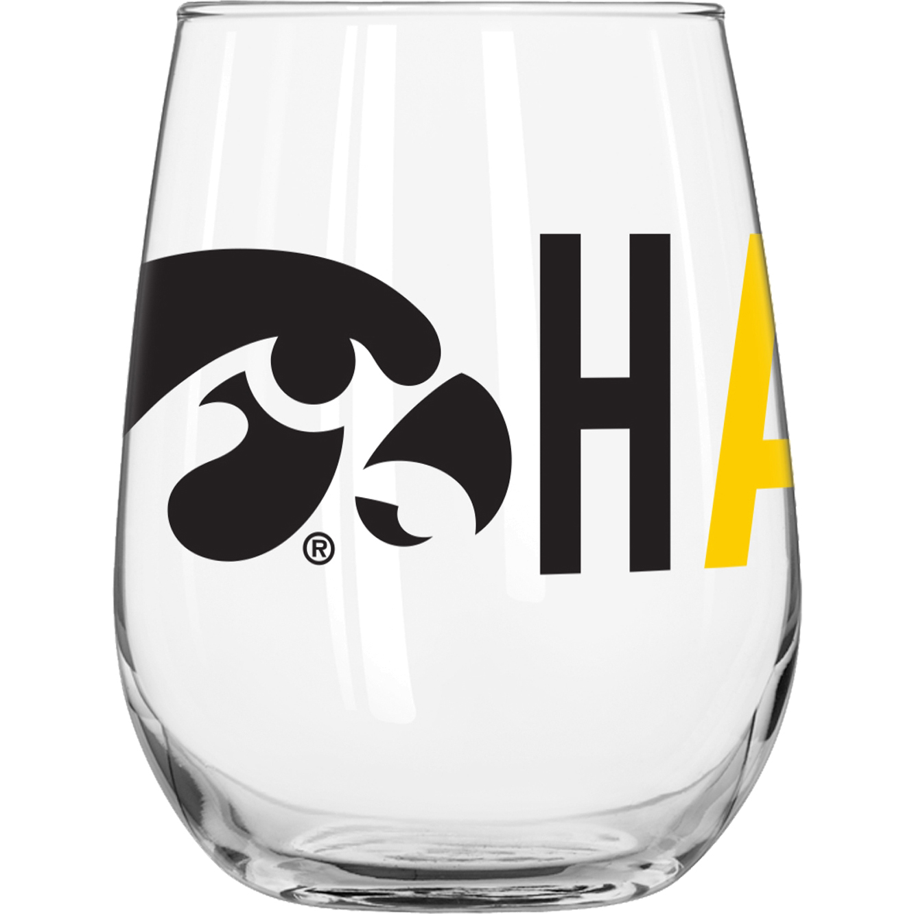University of Iowa 16 oz. Overtime Curved Beverage Glass