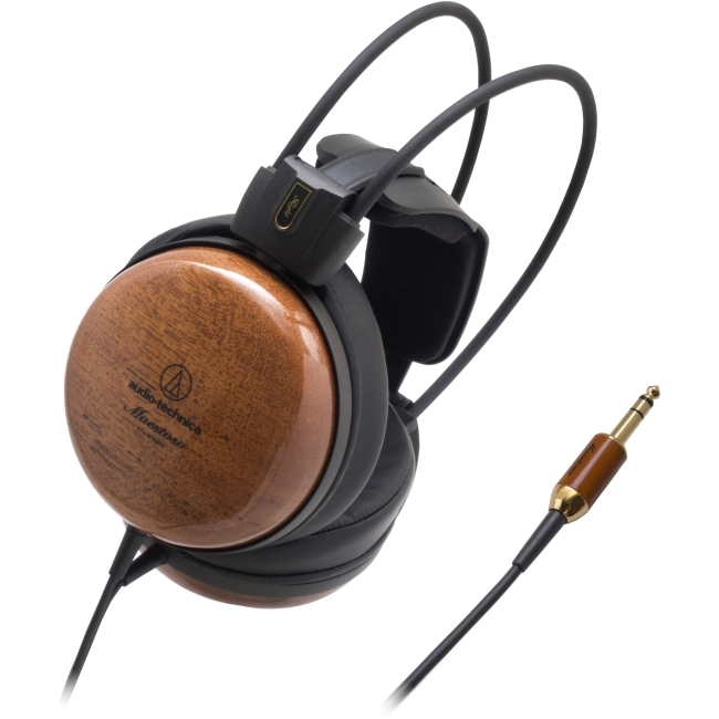 Audio Technica Audiophile Closed-Back Dynamic Wooden Headphones, Black