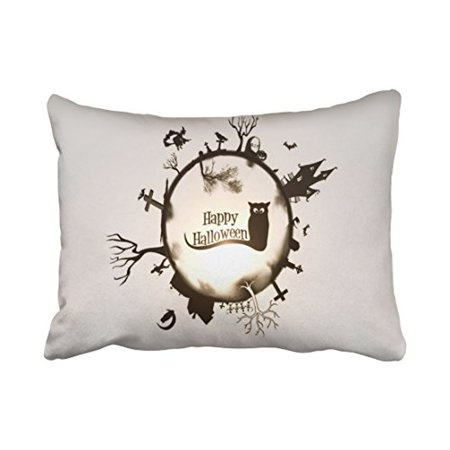WinHome Vintage Fashion Happy Halloween Owl Witch House Cross Pumpkin Moon Polyester 20 x 30 Inch Rectangle Throw Pillow Covers With Hidden Zipper Home Sofa Cushion Decorative Pillowcases