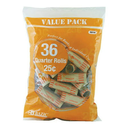 BAZIC Quarter 25-Cent Coin Wrappers 36 Per Pack