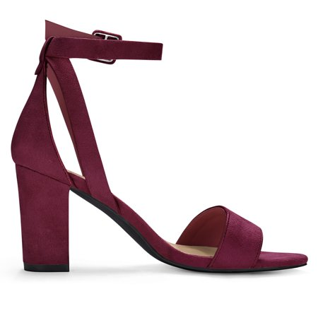 97a6cf641c1 HJ284-5 Women PU Panel Piped Chunky Heel Ankle Strap Sandals Burgundy US  5.5 ...