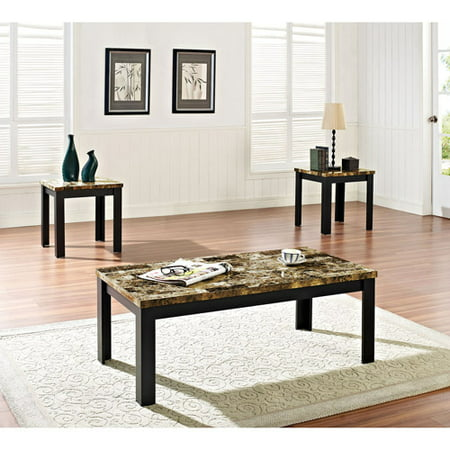 Acme 3 Piece Finely Coffee And End Table Set Dark Brown Faux Marble