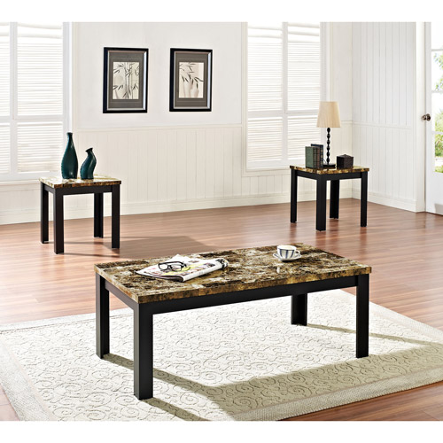 Acme 3 Piece Finely Coffee And End Table Set, Dark Brown Faux Marble U0026 Black