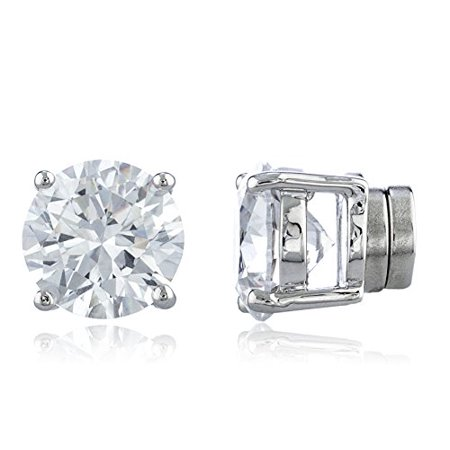 New & Improved! Silvertone with Clear Cz Round Magnetic Stud Earrings - 4mm to 12mm Available (9 Millimeters) ()