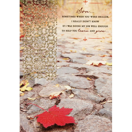 Designer Greetings Textured Red Leaf on Stone Walkway with Gold Foil: Son Religious Birthday Card