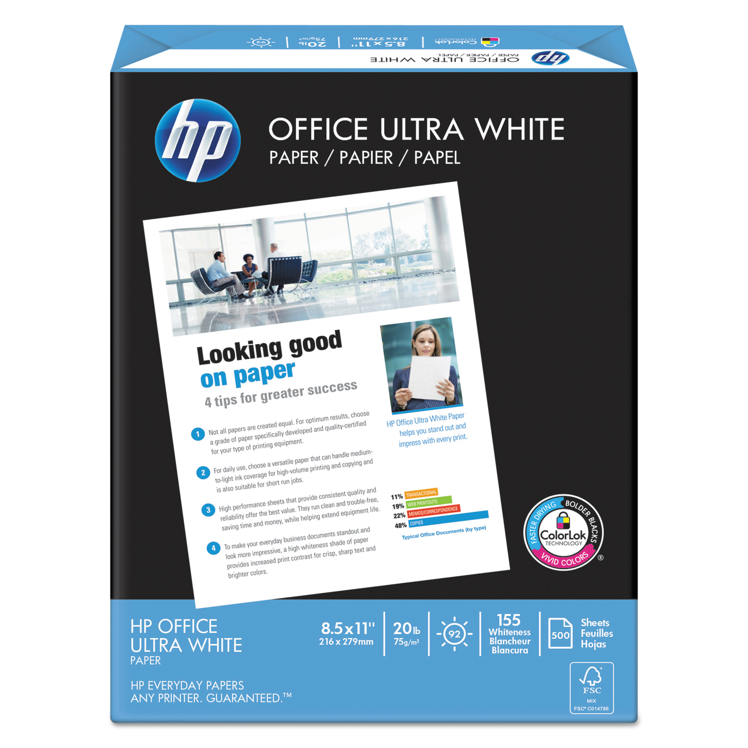 HP Office Paper, 92 Brightness, 20lb, White