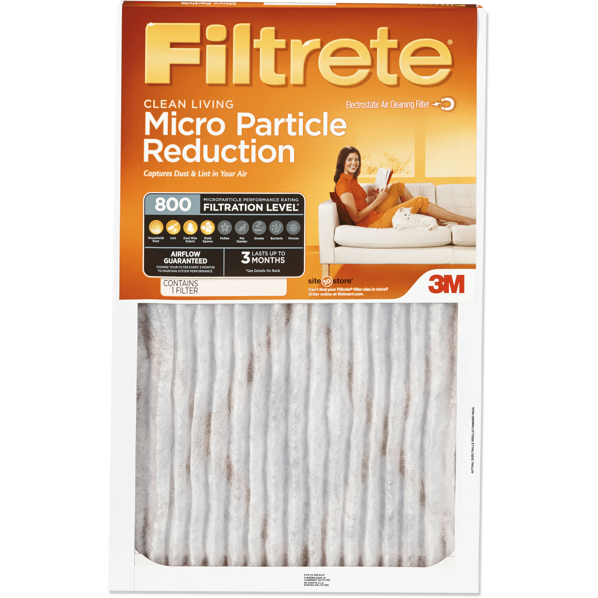 Filtrete Allergen Defense Micro Particle Reduction HVAC Furnace Air Filter, 800 MPR, 20 x 30 x 1 inch, 1 Filter
