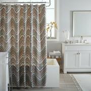 Bath Bliss Dotted Chevron Design PEVA Shower Curtain in Grey