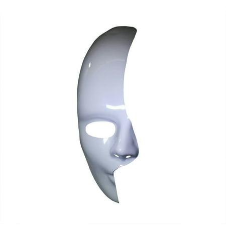White 1/2 Half Mask Phantom of the Opera Mardi Gras Adult Costume Accessory