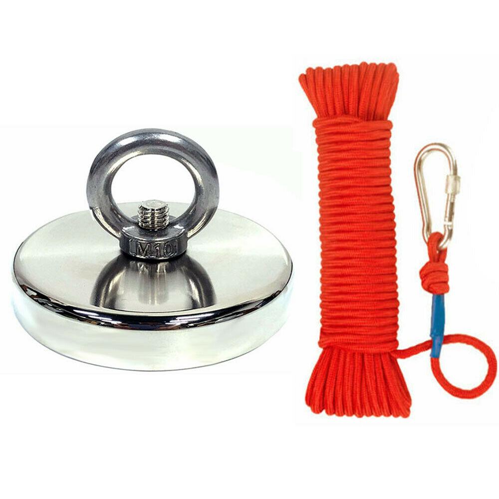 300 LBS Fishing Magnet Kit Strong Neodymium 10cm Rope Pull Force Treasure Hunt