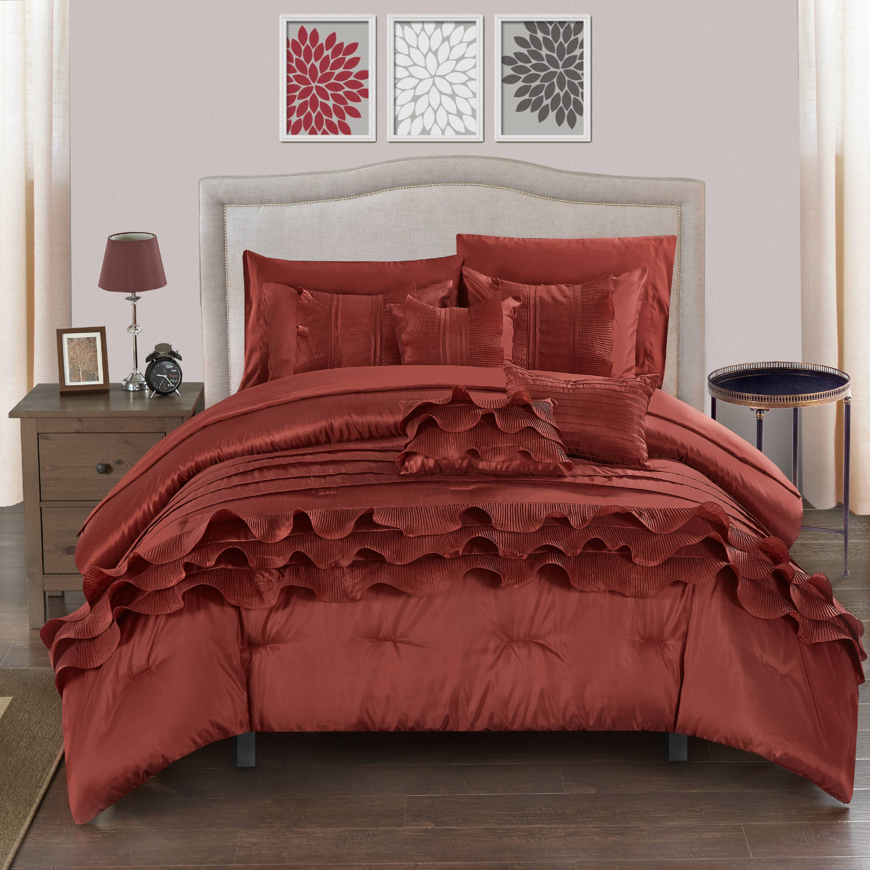 Chic Home 10-Piece Samson Rouching Pleated Ruffles Complete Queen Bed In a Bag Comforter Set Brick Sheets set and Decorative pillows included
