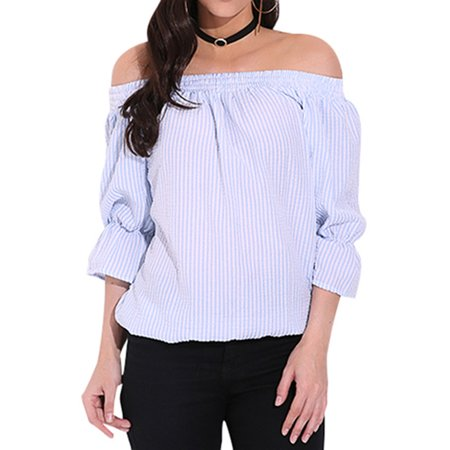 0bd48436b58 ZANZEA - Women's Fashion Bowknot Striped Off Shoulder Long Sleeve Crop Tops  - Walmart.com