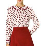 Allegra K Women's Cute Ruffle Peter Pan Collar Long Sleeve Sweet Casual Blouse Tops (Size S / 6) White