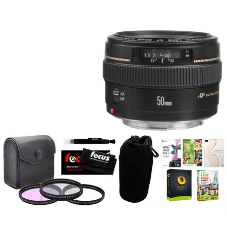 Canon Ef 50Mm F 1 4 Usm Lens With Corel Software Package And Accessory Bundle