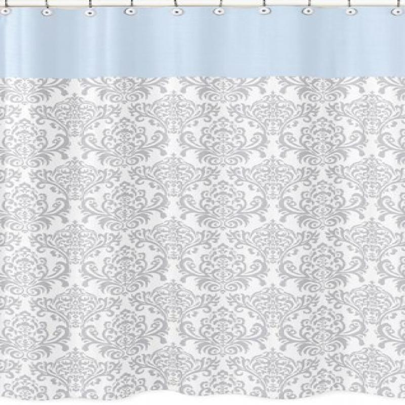 Blue, Gray and White Damask Print Avery Unisex Kids Bathroom Fabric Bath Shower Curtain by Overstock
