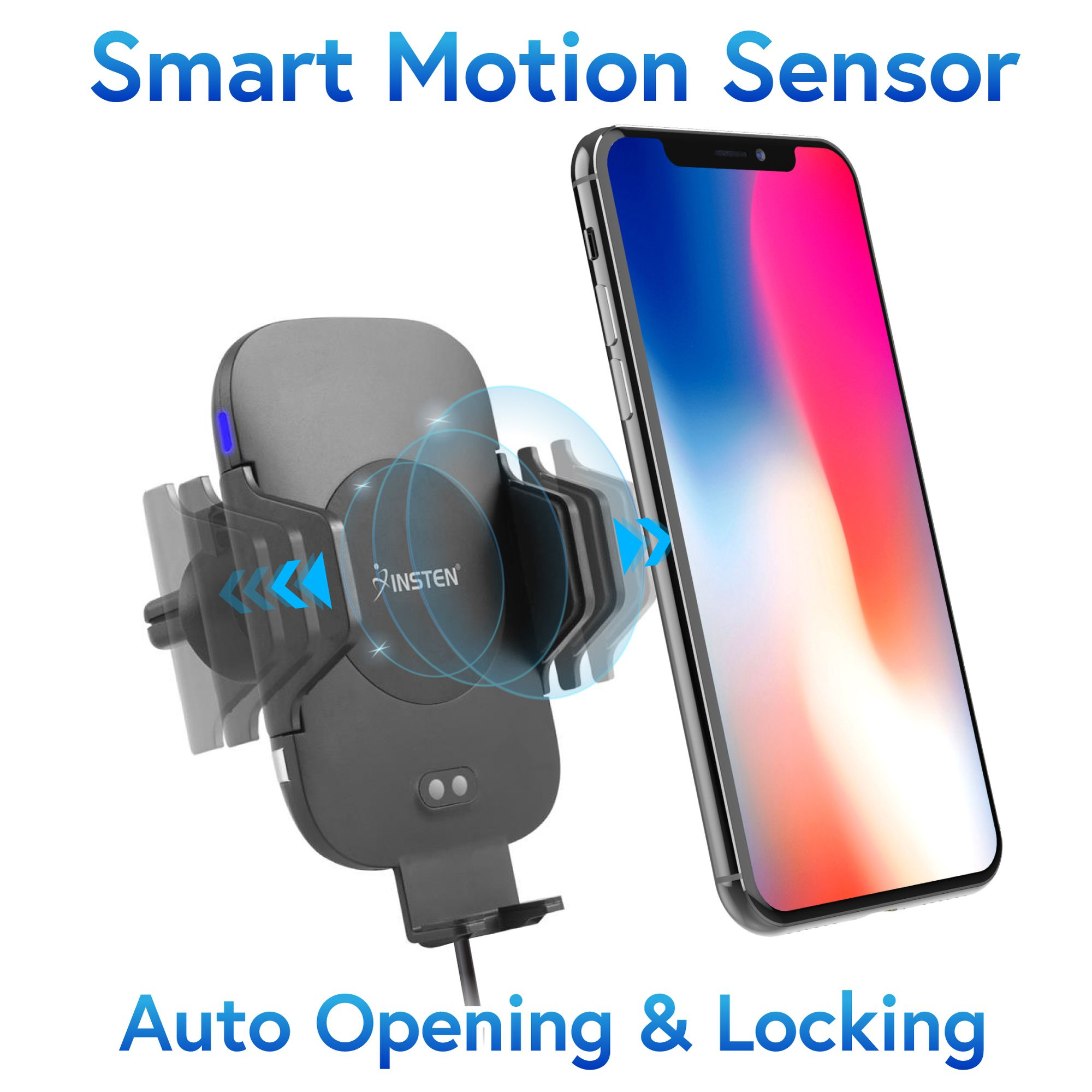 Insten Infrared Motion Sensor Auto Open & Clamp Air Vent Cell Phone Holder Cradle with Fast Wireless Charging Pad for Apple iPhone XS iPhone X 8 8+ 8 Plus