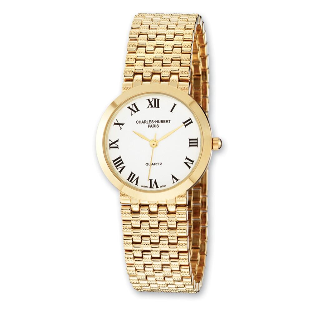Mens Charles Hubert Satin Gold Finish Brass 32mm Watch