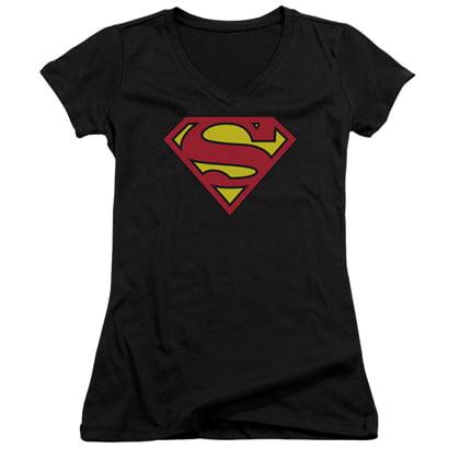Superman Classic Logo Women's Black V-Neck - Superman T Shirt For Womens