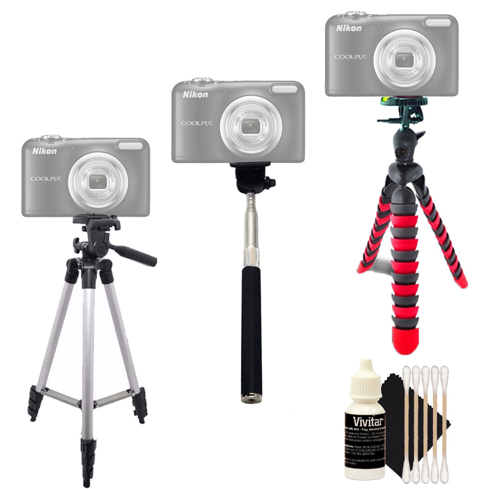 Tall Flexible Tripod and Monopod with Cleaning Kit for Nikon Coolpix L830 L840 and All Digital Cameras