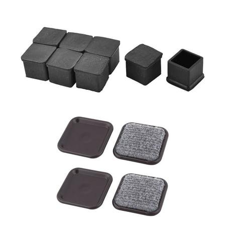 Square Furniture Anti-slip Foot Slider Moving Pad 4pcs + 20x20mm Rubber Square Designed Furniture Foot Caps