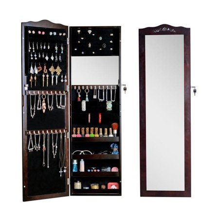 Organizedlife Wood Wall Or Door Mounted Jewelry Armoire Cabinet With Full Length Mirror Holder Lock Brown
