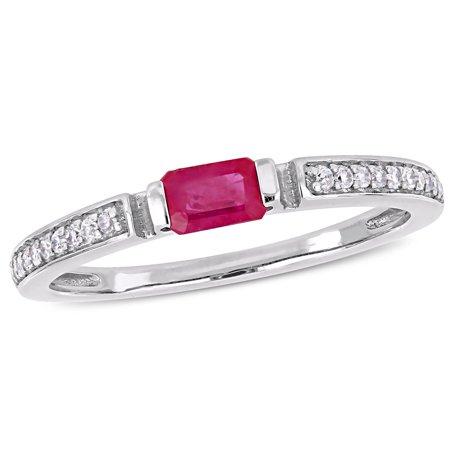 3/8 Carat T.G.W. Ruby and 1/10 Carat T.W. Diamond 10kt White Gold Engagement Ring (Diamond And Ruby Engagement Ring)