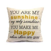 "Popeven Cotton Linen Square Decorative Throw Pillow Case Cushion Cover 18"" x 18"" You Are My Sunshine"
