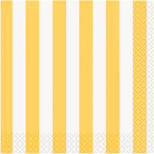 Yellow Striped Cocktail Napkins, 16pk