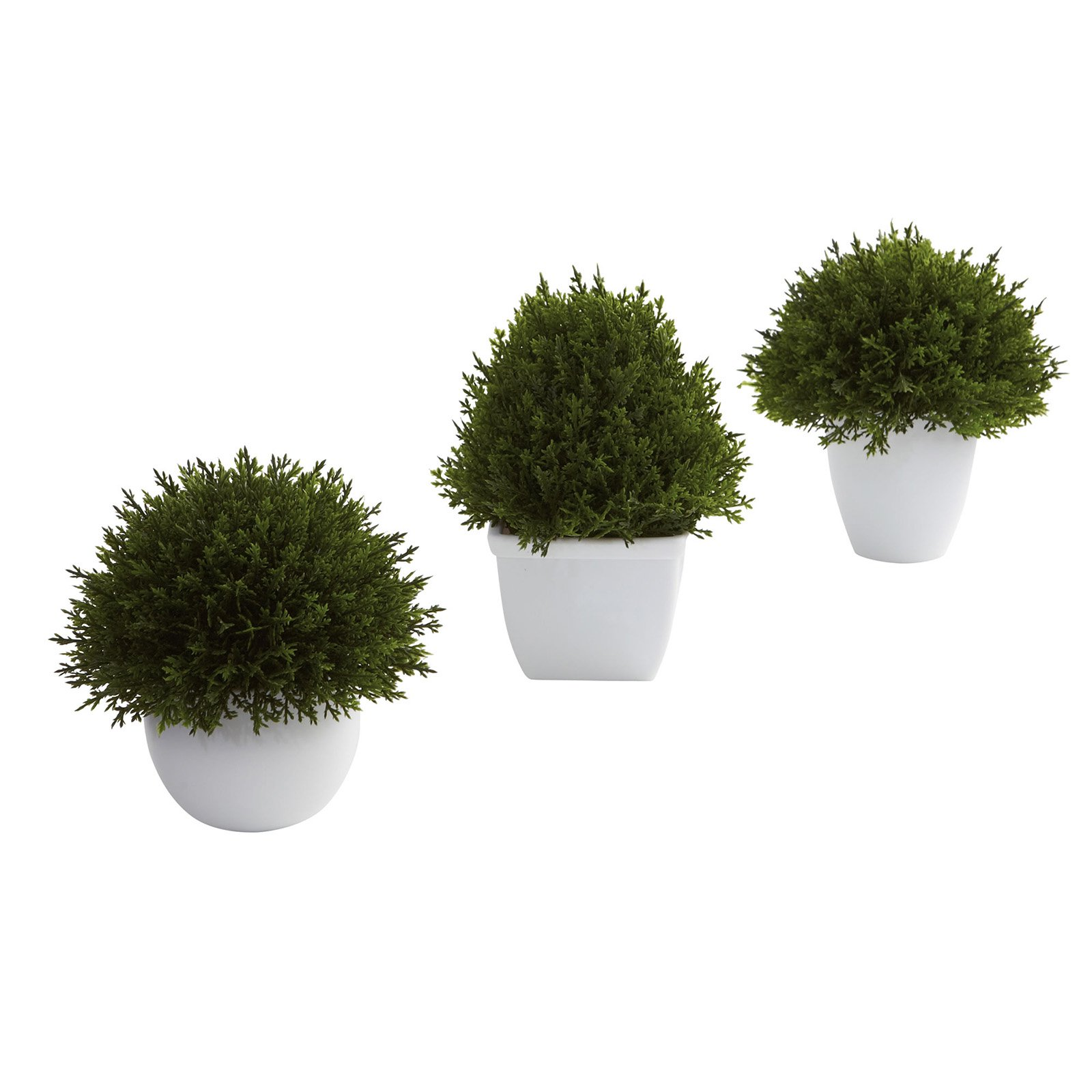 Nearly Natural Mixed Cedar Topiary Collection, 3pk