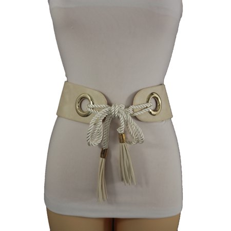 Women Hip Waist Off White Wide Faux Leather Tie Fashion Belt Fringes Plus M L
