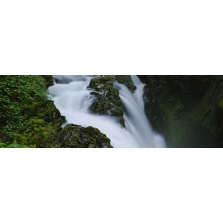 High angle view of a waterfall Sol Duc Falls Olympic National Park Washington State USA Canvas Art - Panoramic Images (18 x
