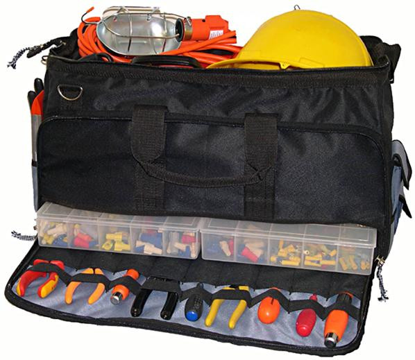 Large Easy Search Tool Bag with Multi-Compartment Tray by Morris Products