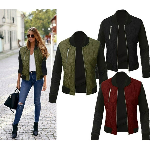 ladies outerwear : Plus Size S-3XL Women Autumn WInter Zipper Up Flight Bomber Jackets Ladies Casual Coat Outerwear Fashion Patchwork Jacket