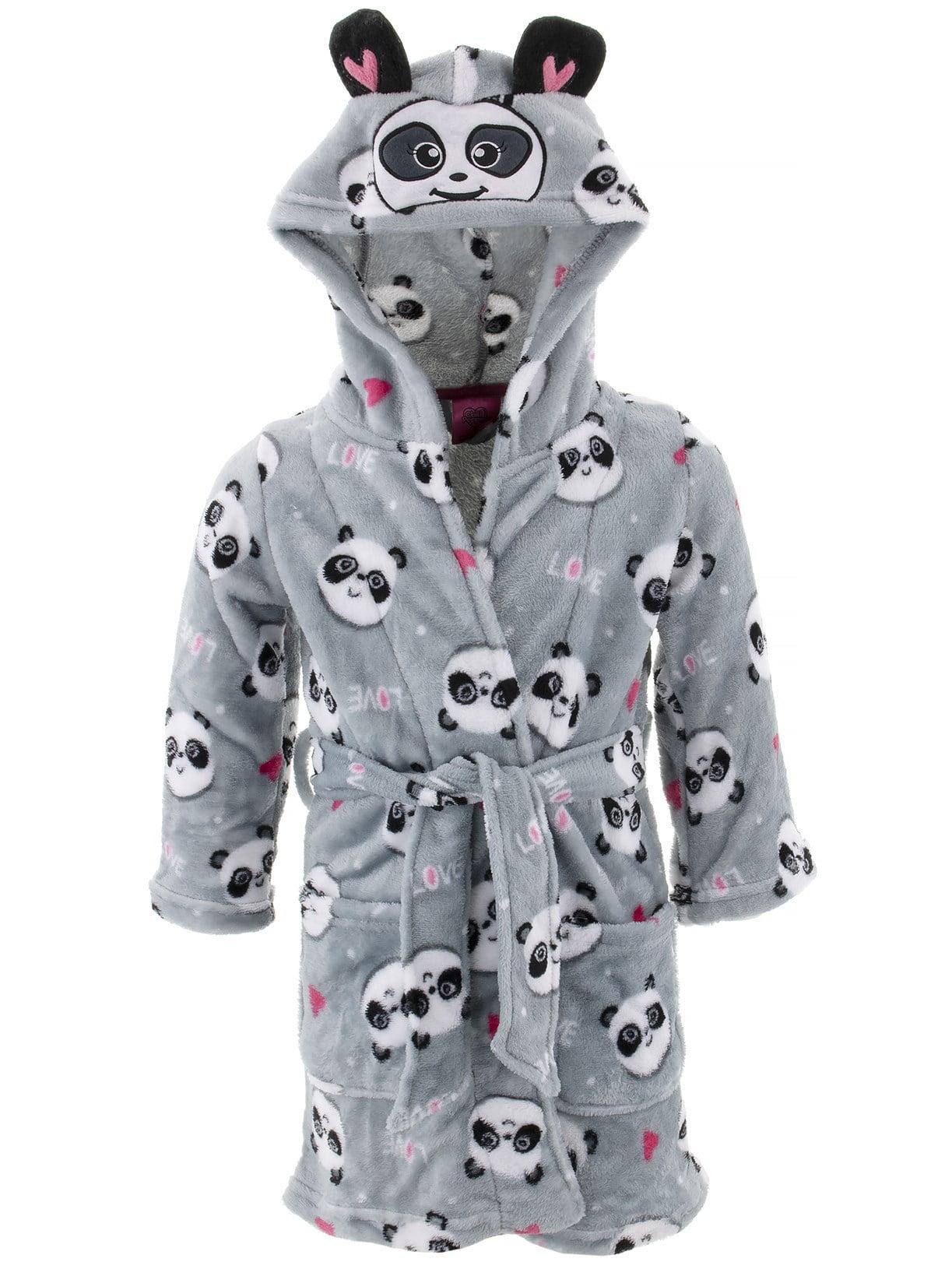 Chili Peppers Girls Gray Robe Panda Fleece Hooded Character Bathrobe