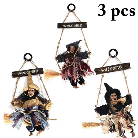 3PCS Halloween Hanging Ornament, Justdolife Creative Broom Witch with Hat Decor Door Hanging Sign Halloween Party House Decoration - Door Decorating Ideas For Halloween For Office