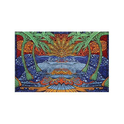 Sunshine Joy 3D Epic Tropical Paradise Surf Wave Palm Tree Tapestry Tablecloth Beach Sheet Wall Art Huge 60 x 90 Inches