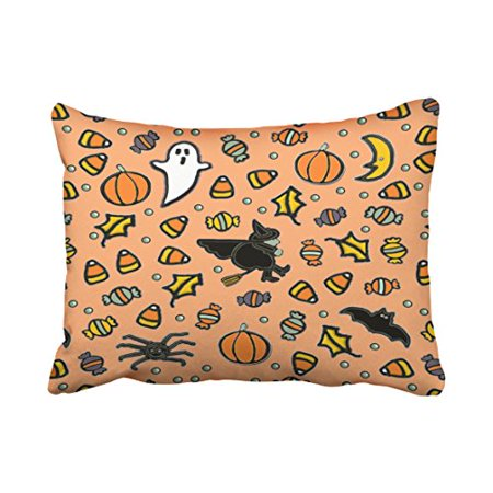 WinHome Happy Halloween Decor Throw Pillow Covers Cushion Cover Case 20X30 Inches Pillowcases Two Side (Nz Halloween Date)