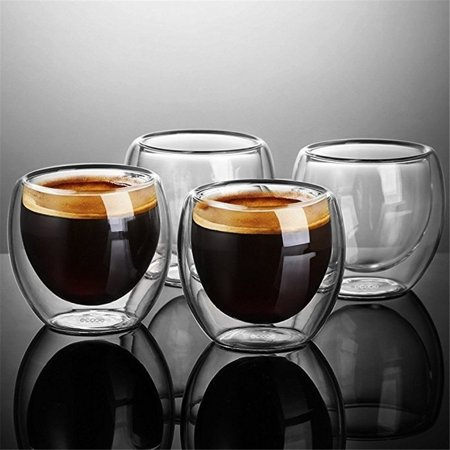 Coffee or Tea Glasses  Double Wall Thermal Insulated Cups,Clear Insulate Glass Cups,Espresso Latte Cappuccino Stackable Glassware  1pcs 250ml ()