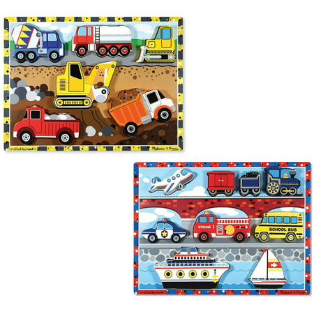 Melissa & Doug Wooden Chunky Puzzles Set - Vehicles and Construction for $<!---->