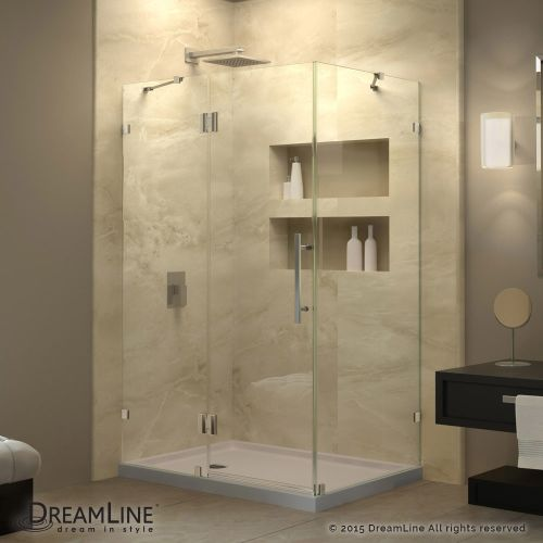 Dreamline Quatra Lux 34 5/16 in. by 46 5/16 in. Frameless Hinged Shower Enclosure (Chrome (Grey) Finish)