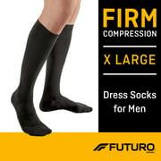 FUTURO™ Men's Dress Socks, X-Large, Firm Compression, Black
